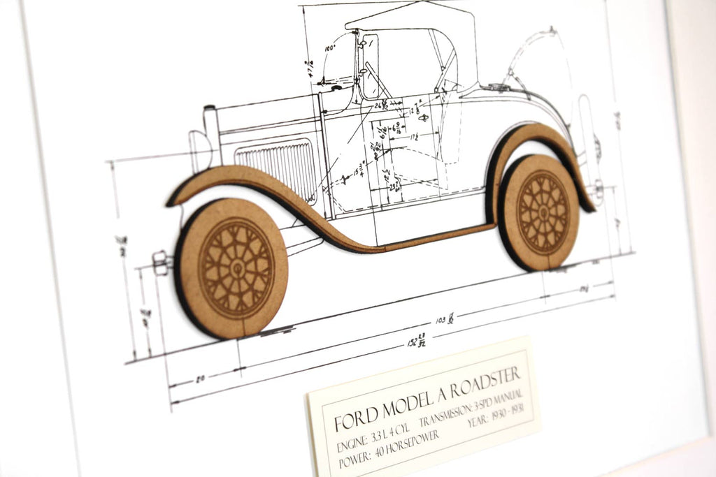 Ford Model A Roadster blueprint art