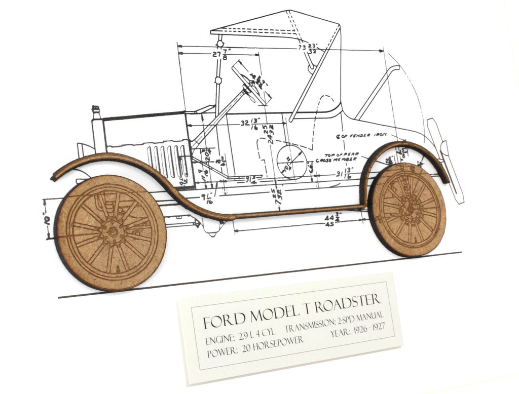 Ford Model T Roadster blueprint art, automotive gift