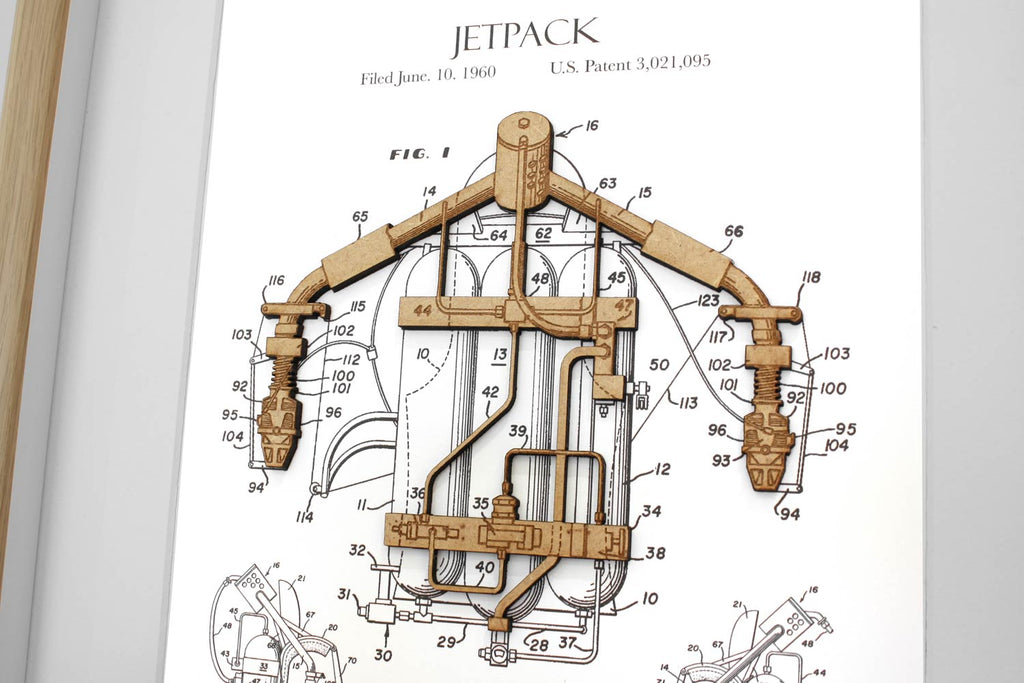 Jetpack patent art, Science Gift Home Decor