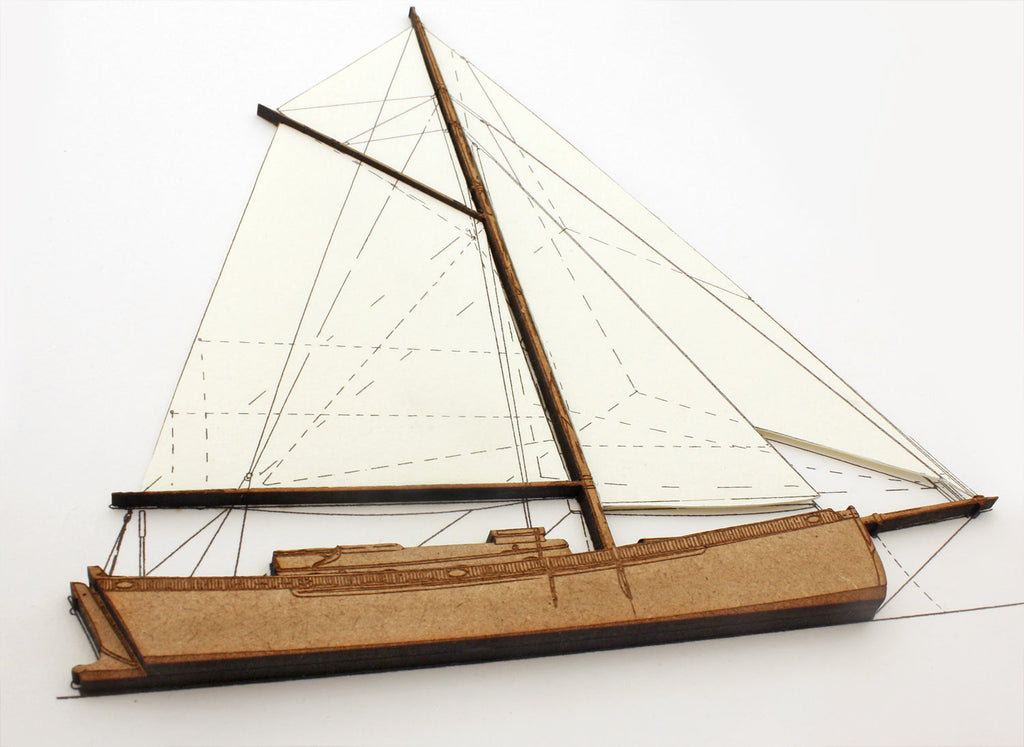 sailing boat art made from laser cut wood