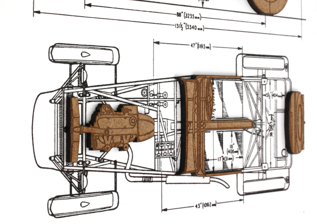 seven sports car blueprint art