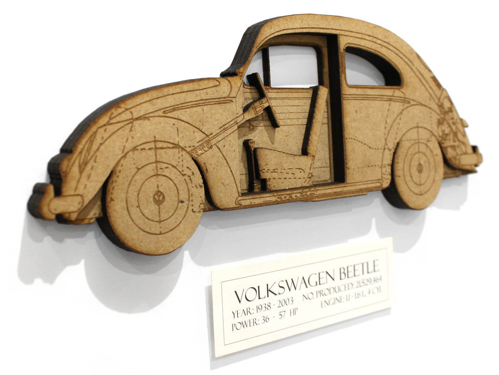 VW Beetle Art, Volkswagen Beetle blueprint laser cut wood