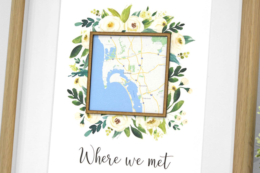 Where we met custom map art