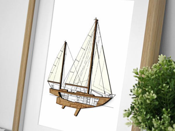 "Sailboat Blueprint, Nautical Home Decor, Laser Cut Wood, 8x10"" or A4 sized"