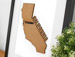 Custom map of California, laser cut wood
