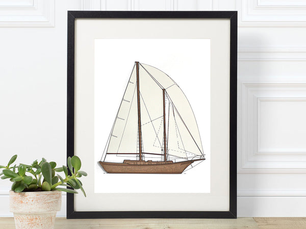 sailboat wall art, nautical art