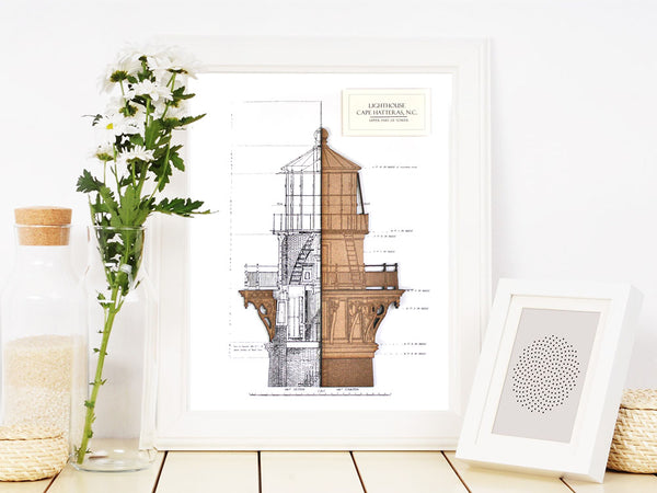 Cape Hatteras lighthouse blueprint art, nautical decor