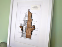 "Lighthouse Blueprint, Nautical Home Decor, Laser Cut Wood, 8x10"" or A4 sized"