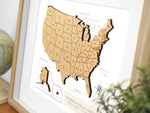 Custom America wood map art