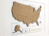 "Map of America, Custom USA Map, Laser Cut Wood Map, 8x10"" or A4 sized"