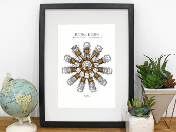 aviation art, radial engine patent