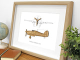 Hawker Hurricane Blueprint Art, Aviation Art, Laser Cut Wood, 8x10 or A4 Sizes