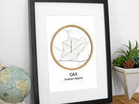 aviation art, pilot gift, custom airport map