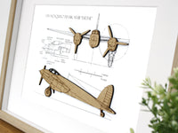 DH mosquito blueprint, aviation gifts