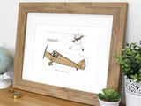 Piper J4E Cub Coupe airplane wall art