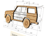 "Toyota FJ60 Blueprint Art, Laser Cut Wood, 8x10"" or A4 sized"