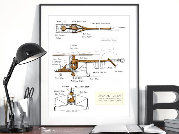 Helicopter art gift