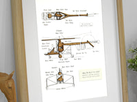Helicopter blueprint home decor wall art