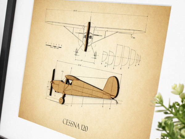 Cessna 120 aviation gifts, vintage blueprint