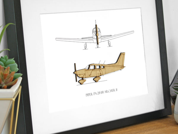 Piper Archer II blueprint aviation art