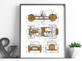 "Lotus / Caterham Seven Blueprint, Automotive Art, Laser Cut Wood, 8x10"" or A4 sized"