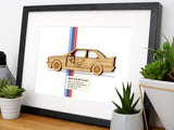 BMW E30 M3 blueprint art gift