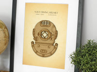 vintage navy diving helmet art