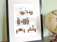 lunar rover wall art, space gift home decor