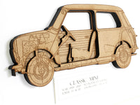 "Classic Mini Blueprint Art, Mini Cooper Decor, Laser Cut Wood, 8x10"" or A4 sized"
