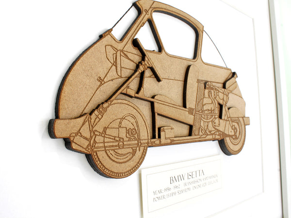 "BMW Isetta Art, BMW Isetta Blueprint Decor, Laser Cut Wood, 8x10"" or A4 sized"