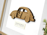 VW Beetle car art, laser cut wood blueprint