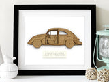 VW Bug gifts, Beetle Blueprint art