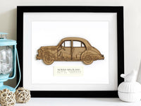 Morris Minor blueprint art gift