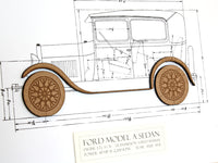 "Ford Model A Sedan Blueprint, Automotive Decor, Laser Cut Wood, 8x10"" or A4 sized"