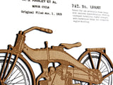 "Harley Davidson Blueprint Art, Motorcycle Patent Art, Laser Cut Wood, 8x10"" or A4 sized"