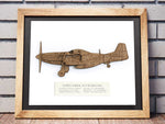 P51 Mustang blueprint art, aviation gift wall art