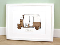 "Rickshaw Wall Art, Tuk Tuk Holiday Decor, Laser Cut Wood, 8x10"" or A4 sized"