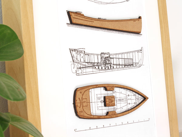 lake cabin art, boat art blueprint