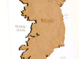 "Map of Ireland, Custom Ireland Map, Laser Cut Wood Map, 8x10"" or A4 sized"