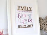"Custom Birth Stats Nursery Art, Laser Cut Wood, Purple & Lilac Nursery, 8x10"" or A4 sized"