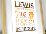birth stats nursery decor with lion, yellow and orange