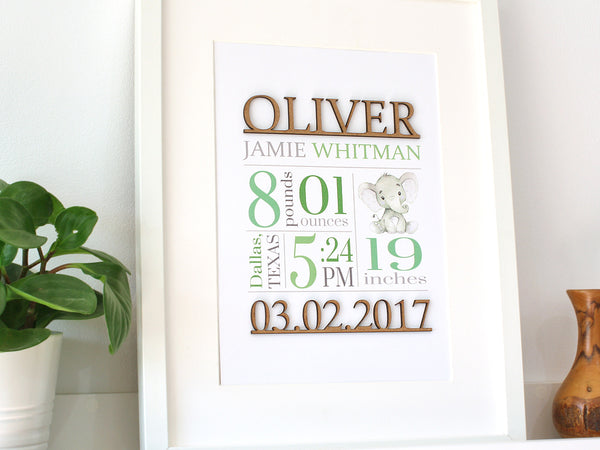 green birth stats wall art