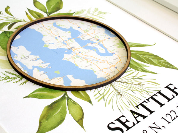 "Custom Coordinates Wall Art, Personalized Map Decor, Laser Cut Wood, 8x10"" or A4 sized"