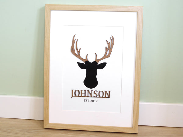 "Surname Sign, Family Name Wall Art, Laser Cut Wood Antlers, 8x10"" or A4 sized"