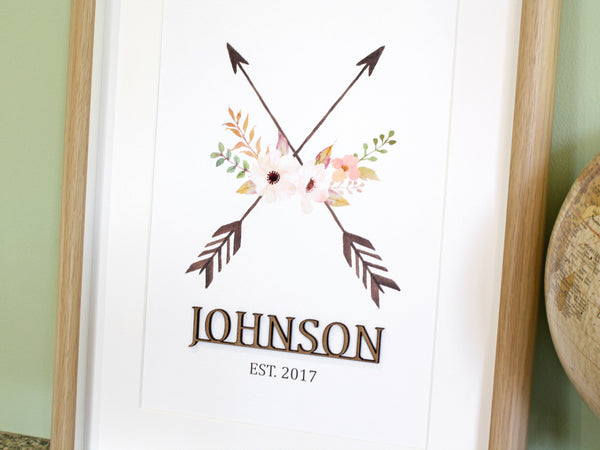 "Surname Wall Art, Family Name Sign, Crossed Arrows, 8x10"" or A4 sized"
