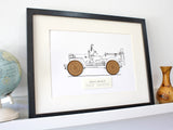 Willys Jeep blueprint art gift
