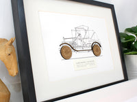"Ford Model T Roadster Blueprint, Automotive Art, Laser Cut Wood, 8x10"" or A4 sized"
