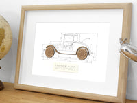 "Ford Model A Coupe Blueprint, Automotive Art, Laser Cut Wood, 8x10"" or A4 sized"