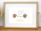 Ford Model A gift, car blueprint art