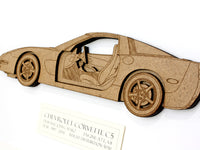 "Corvette C5 Art, Corvette Decor, Laser Cut Wood, 8x10"" or A4 sized"